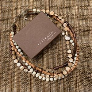 Silpada wood, silver, mother of pearl necklace